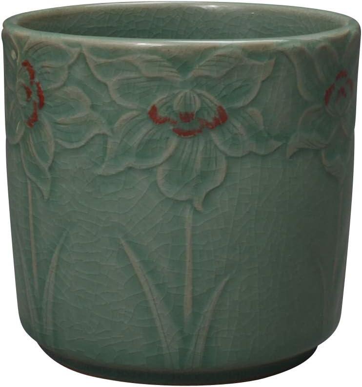 Korean Celadon Porcelain Embossed Flower Design Office Desk Desktop Pen Pencil Brush Green Ceramic Pottery Cup Case Box Holder Organizer Container Executive Gift