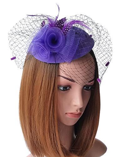 Fascinator Womens Pillbox Hat British Bowler Hat Flower Veil Wedding Hat Tea Party Hat (Purple)