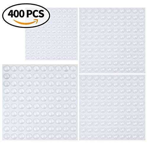 Cabinet Door Bumpers, Clear Adhesive Rubber Bumper Pads – Round, 400 Pieces, 3 Sizes