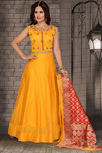 Da Facioun Readymade Indian Women Designer Partywear Ethnic Traditonal Dress. Da Facioun Design Ready-made Femmes Indien Partywear Ethnique Robe Traditionelles. Yellow 1 Jaune 1