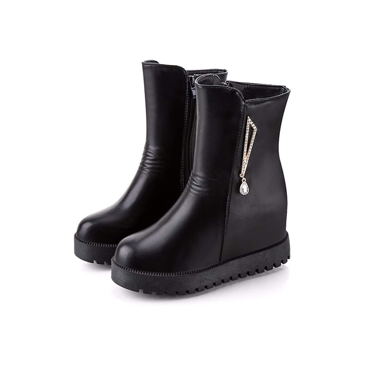 KPHY Damenschuhe Dicke Hintern Innere Größe Heel 7 cm Kurze Stiefel Steigung Ferse Samt 100 Sätze Slim Martin Stiefel