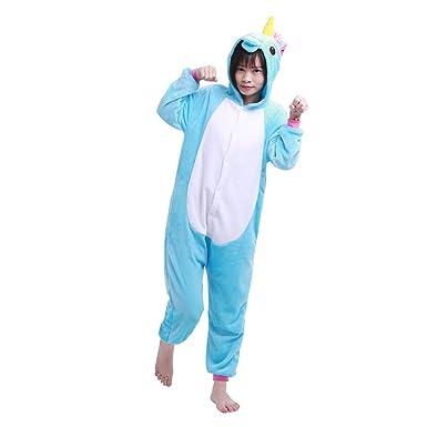 iEFiEL Kids Boy Girls Cute One-piece Unicorn Pajamas Animal Sleepwear Homewear Cosplay Costume Blue