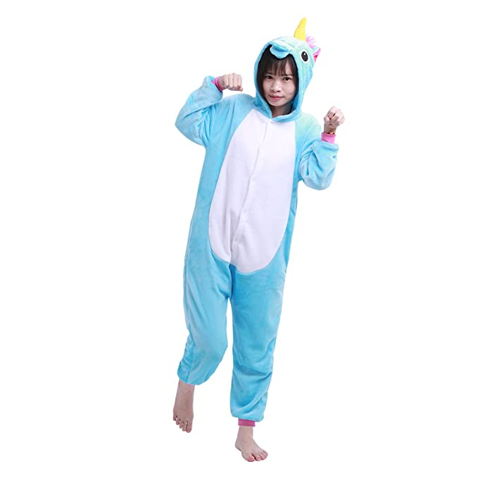 iiniim Kids Boys Girls One Piece Unicorn Pajamas Cosplay Costume Animal Sleepwear Fleece Hoodie Blue 8