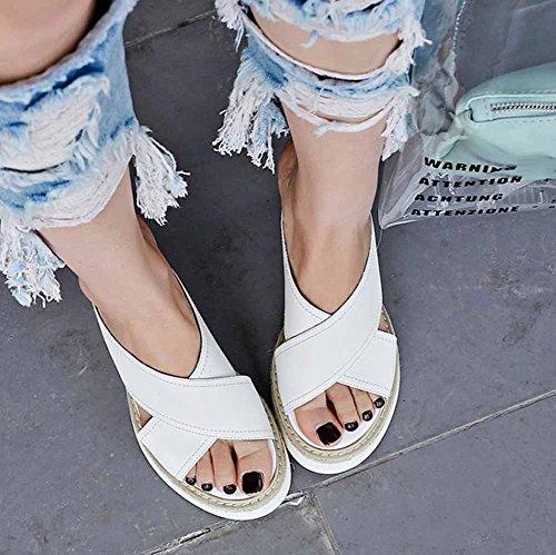 Pantuflas Mujer Verano Plataforma Tacón Peep Aguja Blanco Nuevas Toe Sandalias Shinik De 2018 Cruzada Grueso Cuña Con dBnCn