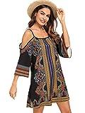 Milumia Women's Tribal Print Kimono Sleeve Geometric Tunic Boho Dress X-Large Multicolor-6