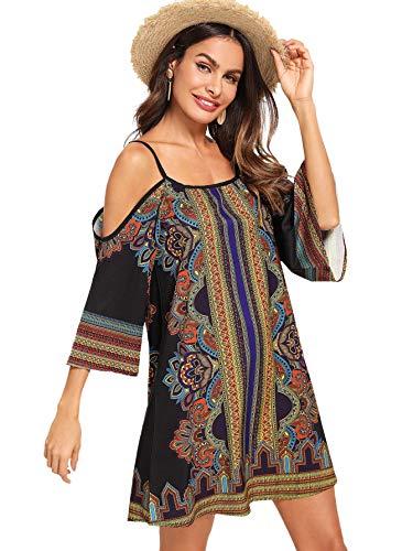 (Milumia Women's Tribal Print Kimono Sleeve Geometric Tunic Boho Dress X-Large)