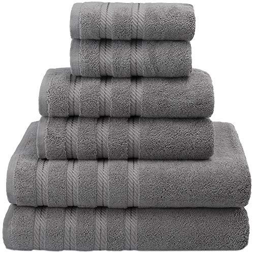 American Soft Linen Premium, Luxury Hotel & Spa Quality, 6 Piece Kitchen & Bathroom Turkish Towel Set, Cotton for Maximum Softness & Absorbency, [Worth $72.95] Rockridge Grey