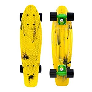 """Penny Authentic Original Plastic Vinyl Cruiser Skateboard Complete 22"""" (Marble Yellow/Black) by Penny"""