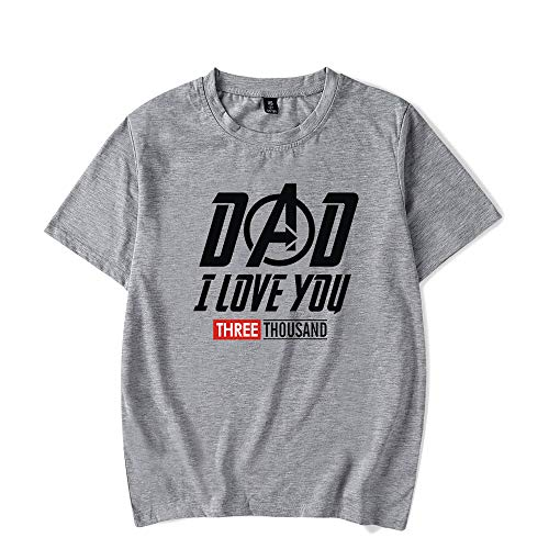 Ironman Fan Dad I Love You 3000 Letter Print T Shirt,Vintage Graphic Top Blouse Idea Gift for Dad (S, -