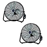 Lasko 20'' High Velocity Performance Floor Fan with QuickMount, Black (2 Pack)