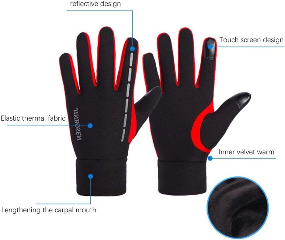 Per Touch Screen Gloves Cold Weather Windproof Thermal Fleece Gloves Non-Slip Silicone and Hand Warmers for Cycling and Running Men/and/Women Velvet/Gloves with Reflective/Strap