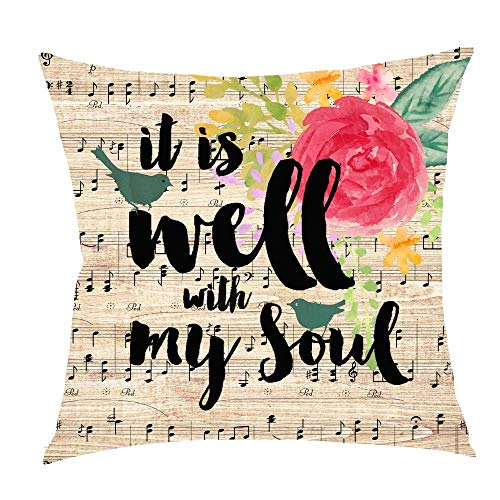 DREAM-S Nordic Retro Wooden Ink Flower Saying Sheet Music Note It is Well with My Soul Cotton Linen Square Throw Waist Pillow Case Decorative Cushion Cover Pillowcase Sofa 18