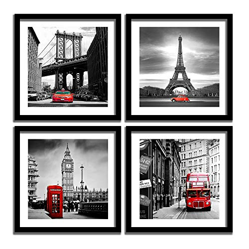 - ENGLANT 4 Pieces Framed Canvas Wall Art, Black White and Red Wall Decor Landscape Poster with Eiffel Tower, Brooklyn Bridge, London Big Ben Picture for Bedroom and Bathroom