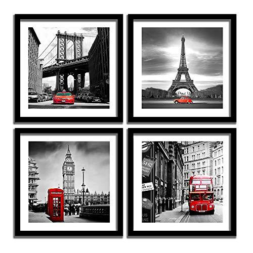 [해외]ENGLANT 4피스 액자 캔버스 벽 아트 블랙 화이트 및 레드 벽 장식 풍경 포스터 에펠탑 브루클린 다리 런던 빅 벤 픽처 침실 및 욕실 / ENGLANT 4 Pieces Framed Canvas Wall Art, Black White and Red Wall Decor Landscape Poster with Eiffel Towe...