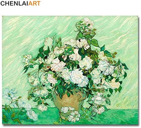 jiushivr El Famoso Grabado de Vincent Van Gogh, Lienzo de Pintura, póster Rosa, Cuadros de Pared para Carteles de Sala y Arte de paredSin Marco 40x50cm