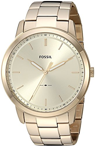 Fossil Men's The The Minimalist 3H Quartz Stainless-Steel-Plated Strap, Gold, 22 Casual Watch (Model: FS5462) - Gold Stainless Steel Strap