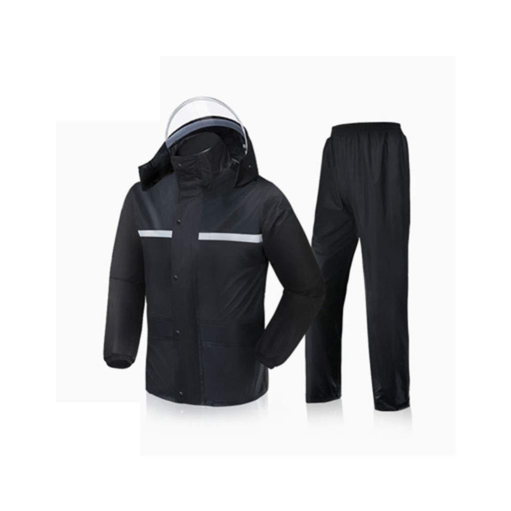Noir XXXXL HBWJSH Imperméable Double Couche imperméable Pluie Chaude Pluie Pantalon Coupe-Vent imperméable imperméable portable (Noir Rouge Marine) (Couleur   Noir, Taille   XXXXL)