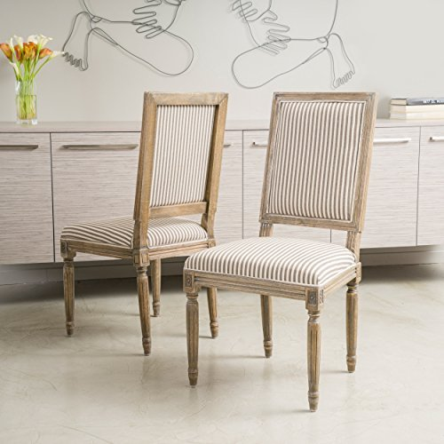 Martin Weathered Dark Coffee Stripe Dining Chairs