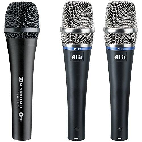 Sennheiser E945 Supercardioid Dynamic Microphone (Sennheiser e945 Supercardioid Dynamic Vocal Microphone with 2x Heil PR22-UT)