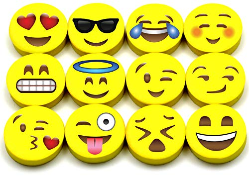 Emoji Erasers, 60-Pack Fun Cute Pencil Erasers for Kids, Great for Rewards, Party Favors, Birthdays, School Prizes, Classroom Incentives or Gifts for Teachers