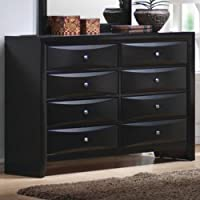 Coaster Dresser with Brushed Chrome Accents in Glossy Black Finish