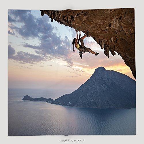 Custom Young Female Rock Climber At Sunset Kalymnos Island Greece 171542741 Soft Fleece Throw Blanket