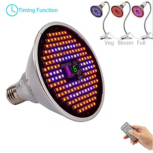 LED Grow Light Bulb Full Spectrum,JCBritw Plant Growing Lamp with Timer Grow Lights with Switch for Indoor Plants Greenhouse Hydroponic Veg and Flower (24W, Three Mode Switch, E26) by JCBritw