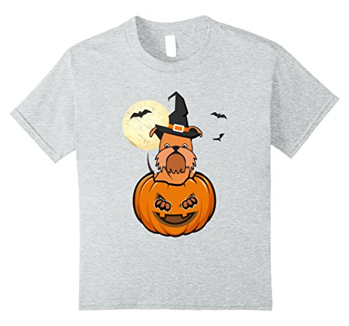 Kids Brussels Griffon Dog in Pumpkin Halloween Funny T Shirt 10 Heather Grey
