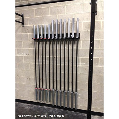 USA MADE Wall Mounted Olympic Bar Holder 12 Bar Wall Mount Vertical Barbell Storage Rack Weight Bar Wall Rack