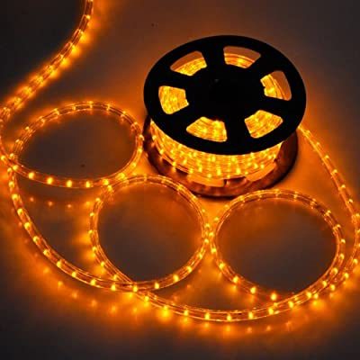 Lighting LED Rope Light 50-ft 2 Wires Saffron Yellow Illuminated 541 LED Bulbs w/ Power Cord Connectors 110V - 120V Cuttable Flexible PVC Tubing for Outdoor Outdoor Decoration Holiday Christmas