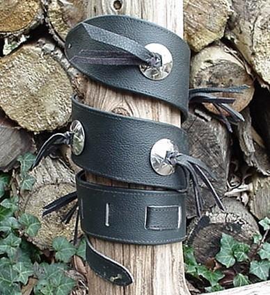 Custom Black Leather Guitar Strap W 7 Conchos, Fringes