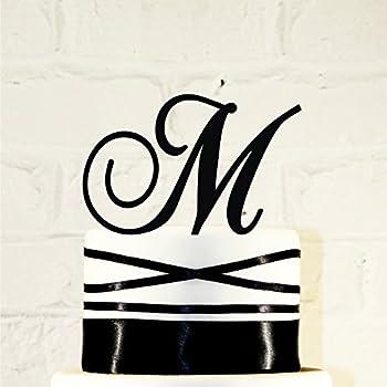 4 inch Monogram Acrylic Wedding Cake Topper Personalized in Any Letter A B C D E F G H I J K L M N O P Q R S T U V W X Y Z