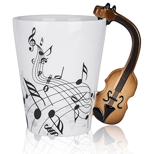 LanHong - 400ml Novelty Violin Mug Ceramic Coffee Milk Cup with Handle Music Cup Gift for ()