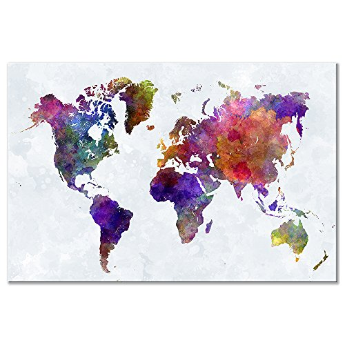 Colorful World Map Extra Large  Artwork Abstract Landscape Pictures