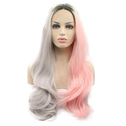 Drag Queen Peluca Half Grey Half Pink Ombre Mujeres sintéticas Cosplay Maquillaje Largo Cabello largo en