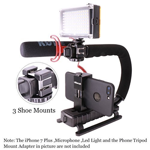 Video Action Stabilizer Stabilizing Handle Grip Rig with 3 Shoe Mounts Triple Head for iPhone 7 Plus Canon Nikon Sony Panasonic DSLR Camera / Camcorder by Jansite