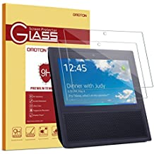Echo Show Glass Screen Protector (2 Pack) - OMOTON Full Coverage Tempered Glass High Definition Screen Protector for Echo Show 2017 with [Premium Clarity] [Anti-Scratch] [No Bubble Install]