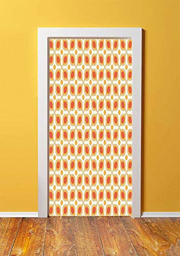 Geometric 3D Door Sticker Wall Decals Mural Wallpaper,Linked Bold Geometric Shapes 70s Vintage Style Minimalist Pattern Boho Home Decor,DIY Art Home Decor Poster Decoration 30.3x78.977,Orange Cream ()