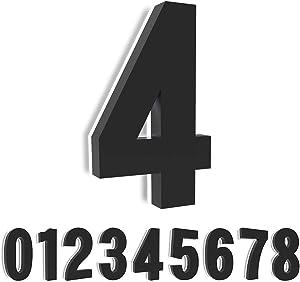 7'' House Number 4, Homlux Backlit Floating LED Lighted Outdoor Large Address Numbers, Lighted Up Signs for Outside Home Yard Street--Black ( Number 4)