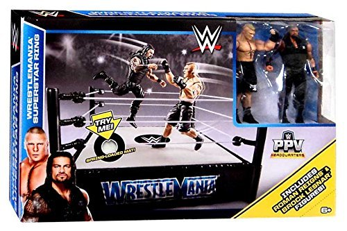 WWE Wrestling PPV Headquarters Wrestlemania Superstar Ring Playset [Roman Reigns & Brock Lesnar Action Figures] by Mattel (Image #1)