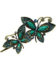 Newstarfactory Vintage Green Butterfly Jaw Rhinestones Hair Alligator Clip with