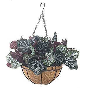 Lopkey Plastic Plant Artificial Begonia Leaf Bushes Patio Lawn Garden Hanging Basket with Chain Flowerpot 47