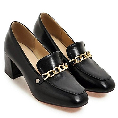 Block Black 2 Heel Mid Fashion Women Pumps TAOFFEN xSqwYZEU