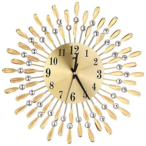 LSDGZDM Wall Clock 3D Large Wall Clock Shiny Rhinestone Sun Style Modern Living Room Decor Gold