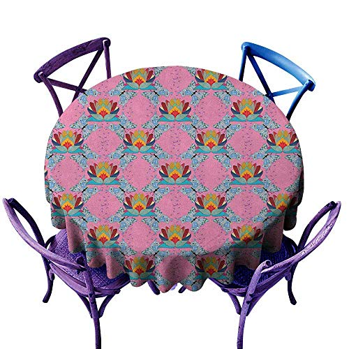 - ONECUTE Resistant Table Cover,Lotus The Flower of Prosperity in The Orient Sketch Illustration of Butterflies and Lotus,for Banquet Decoration Dining Table Cover,47 INCH Multicolor