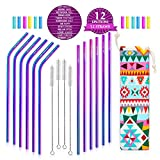Teivio Set of 12 Stainless Steel Straws with Carry Bag, Engraving Emotion Quotes, Drinking Metal Reusable Straws with Cleaning Brush and Silicone Tips and case for 30 Oz - Multicolor, Rainbow