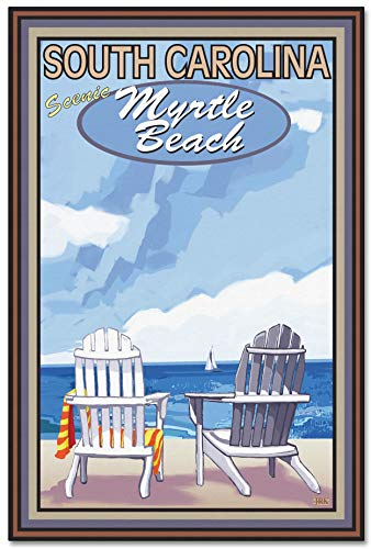 (Myrtle Beach, South Carolina Adirondack Chairs Sailboat Giclee Archival Canvas Print Wall Art Décor for Home & Office by Joanne Kollman (24