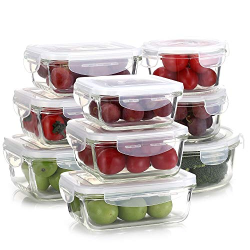 Lulu Home Glass Food Storage Containers, 18 Pieces (9 Containers + 9 Lids) BPA Free Assorted Microwave Safe Container Set