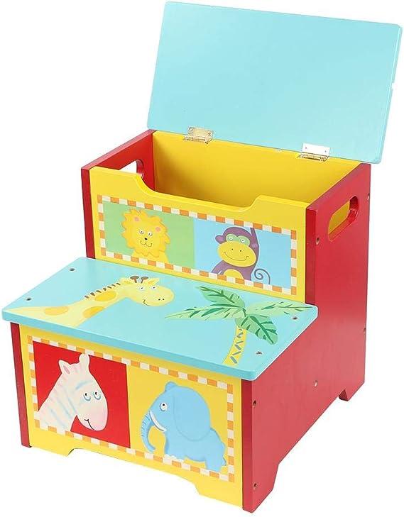 lyrlody Caja de Almacenamiento para Juguetes, Baúl de Almacenaje para Juguetes con Asiento + Banco Organizador con Tapa + Taburete Escalera Infantil 3 en 1, Diseño de Zoológico 32 x 33 x 31cm: Amazon.es: Hogar