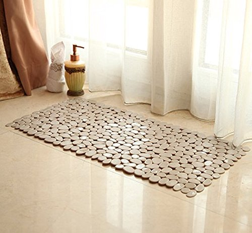 Mitef Non-Slip Square Opaque PVC River Rock Mat Hollow Cobblestone Design Bath and Mat,14''x27'',Khaki
